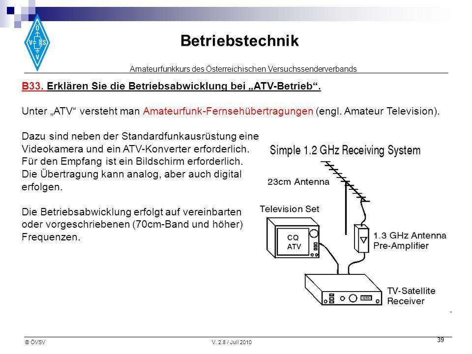 Amateurfunkkurs des Österreichischen Versuchssenderverbands Betriebstechnik © ÖVSVV. 2.8 / Juli 2010 39 B33. Erklären Sie die Betriebsabwicklung bei A