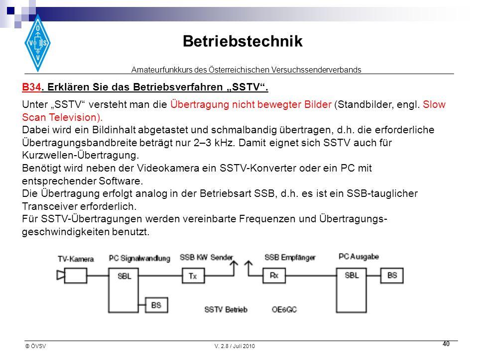 Amateurfunkkurs des Österreichischen Versuchssenderverbands Betriebstechnik © ÖVSVV. 2.8 / Juli 2010 40 B34. Erklären Sie das Betriebsverfahren SSTV.
