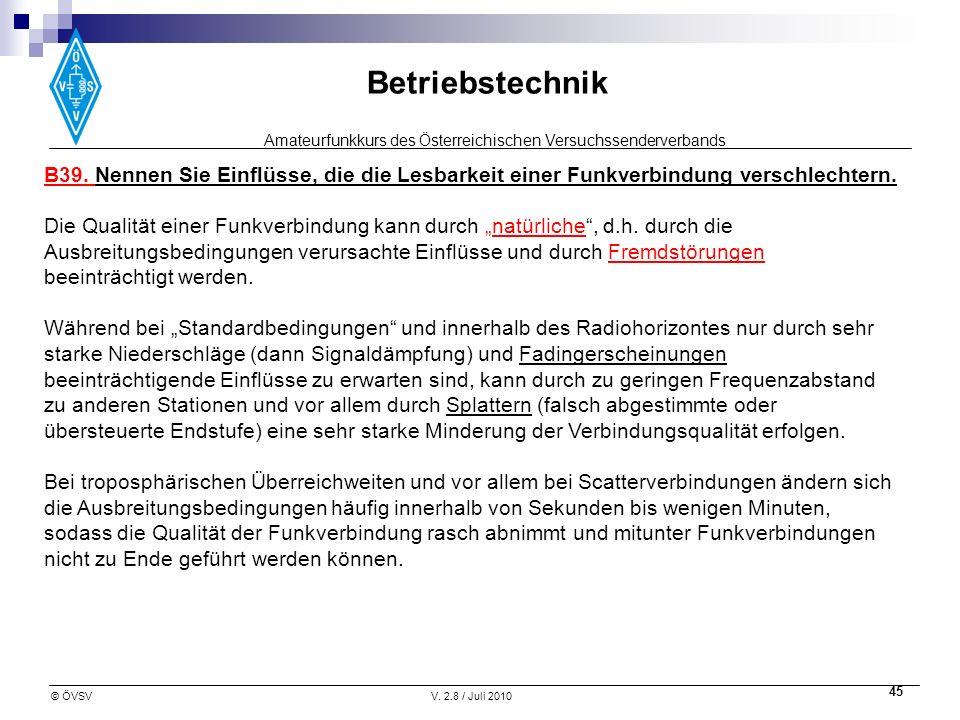 Amateurfunkkurs des Österreichischen Versuchssenderverbands Betriebstechnik © ÖVSVV. 2.8 / Juli 2010 45 B39. Nennen Sie Einflüsse, die die Lesbarkeit
