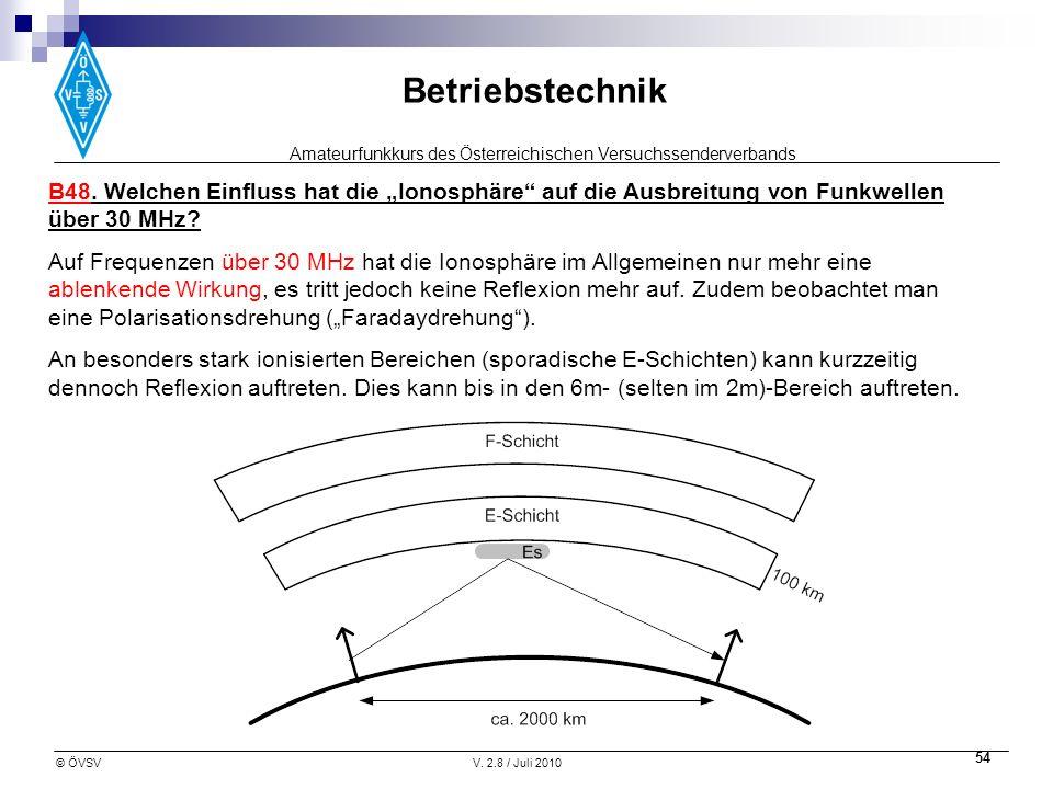 Amateurfunkkurs des Österreichischen Versuchssenderverbands Betriebstechnik © ÖVSVV. 2.8 / Juli 2010 54 B48. Welchen Einfluss hat die Ionosphäre auf d