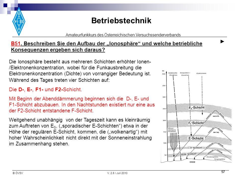 Amateurfunkkurs des Österreichischen Versuchssenderverbands Betriebstechnik © ÖVSVV. 2.8 / Juli 2010 57 B51. Beschreiben Sie den Aufbau der lonosphäre
