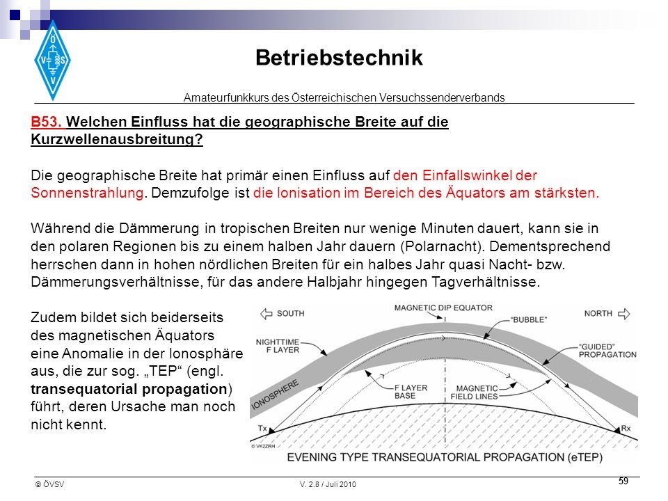 Amateurfunkkurs des Österreichischen Versuchssenderverbands Betriebstechnik © ÖVSVV. 2.8 / Juli 2010 59 B53. Welchen Einfluss hat die geographische Br