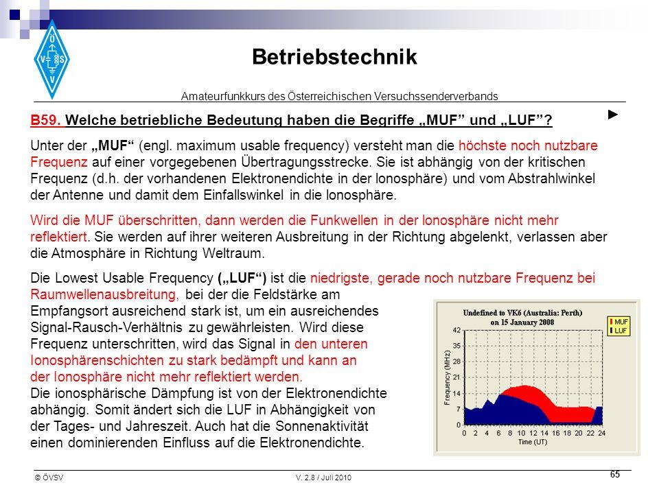 Amateurfunkkurs des Österreichischen Versuchssenderverbands Betriebstechnik © ÖVSVV. 2.8 / Juli 2010 65 B59. Welche betriebliche Bedeutung haben die B