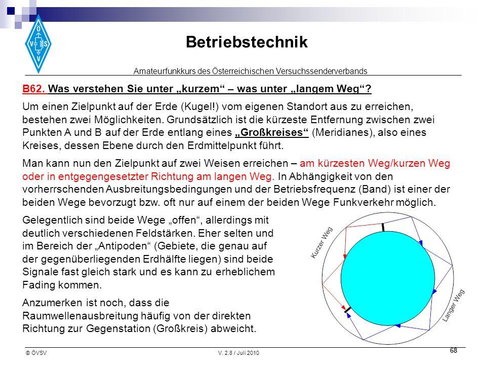 Amateurfunkkurs des Österreichischen Versuchssenderverbands Betriebstechnik © ÖVSVV. 2.8 / Juli 2010 68 B62. Was verstehen Sie unter kurzem – was unte