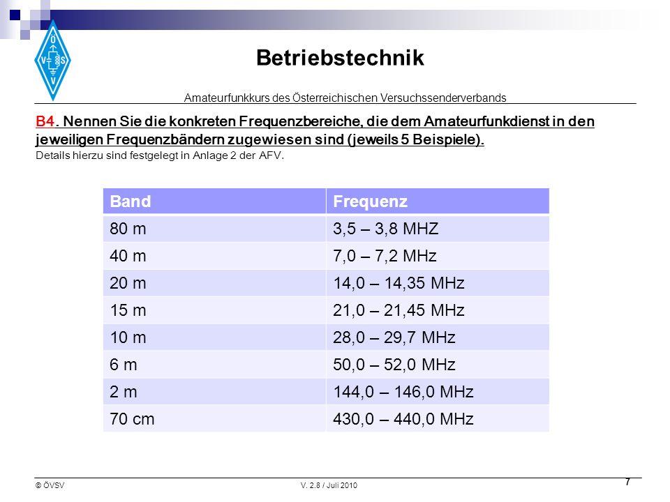 Amateurfunkkurs des Österreichischen Versuchssenderverbands Betriebstechnik © ÖVSVV. 2.8 / Juli 2010 7 B4. Nennen Sie die konkreten Frequenzbereiche,