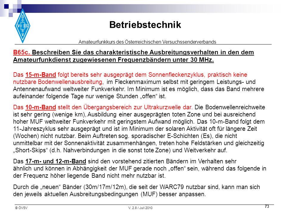 Amateurfunkkurs des Österreichischen Versuchssenderverbands Betriebstechnik © ÖVSVV. 2.8 / Juli 2010 73 B65c. Beschreiben Sie das charakteristische Au