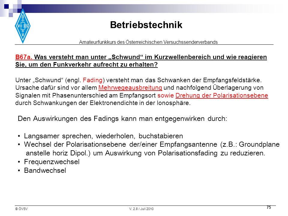 Amateurfunkkurs des Österreichischen Versuchssenderverbands Betriebstechnik © ÖVSVV. 2.8 / Juli 2010 75 B67a. Was versteht man unter Schwund im Kurzwe