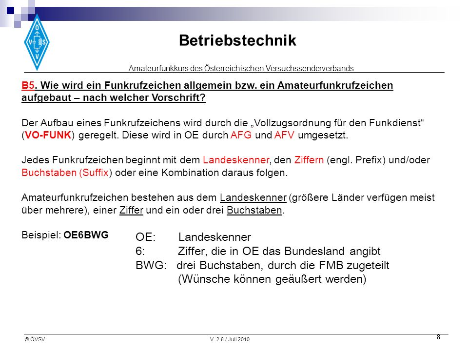 Amateurfunkkurs des Österreichischen Versuchssenderverbands Betriebstechnik © ÖVSVV. 2.8 / Juli 2010 8 B5. Wie wird ein Funkrufzeichen allgemein bzw.
