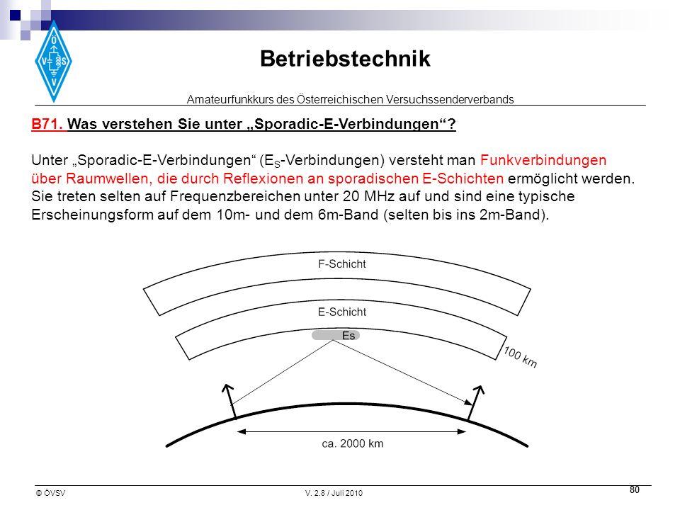 Amateurfunkkurs des Österreichischen Versuchssenderverbands Betriebstechnik © ÖVSVV. 2.8 / Juli 2010 80 B71. Was verstehen Sie unter Sporadic-E-Verbin