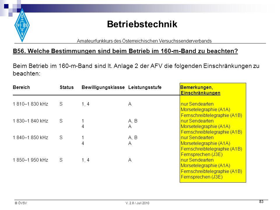 Amateurfunkkurs des Österreichischen Versuchssenderverbands Betriebstechnik © ÖVSVV. 2.8 / Juli 2010 83 B56. Welche Bestimmungen sind beim Betrieb im