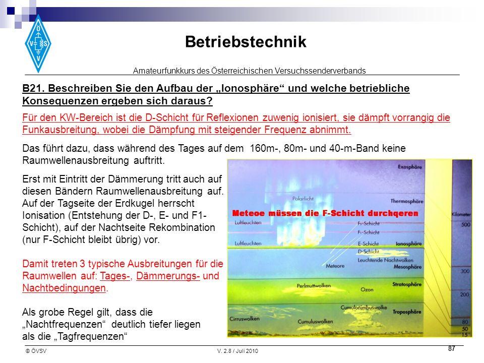 Amateurfunkkurs des Österreichischen Versuchssenderverbands Betriebstechnik © ÖVSVV. 2.8 / Juli 2010 87 Für den KW-Bereich ist die D-Schicht für Refle