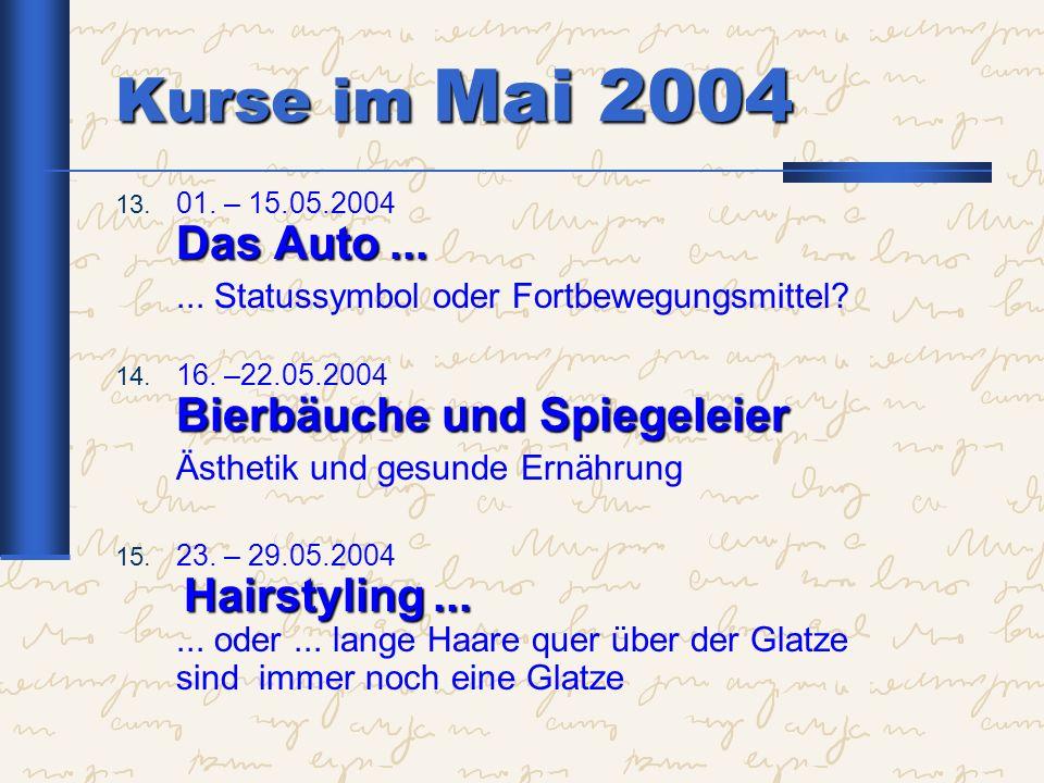 Kurse im Mai 2004 Das Auto... 13. 01. – 15.05.2004 Das Auto...... Statussymbol oder Fortbewegungsmittel? Bierbäuche und Spiegeleier 14. 16. –22.05.200