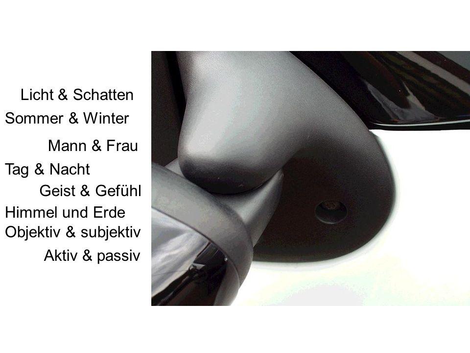 Licht & Schatten Sommer & Winter Tag & Nacht Himmel und Erde Mann & Frau Geist & Gefühl Objektiv & subjektiv Aktiv & passiv