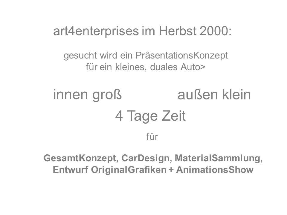 art4enterprises im Herbst 2000: gesucht wird ein PräsentationsKonzept für ein kleines, duales Auto> innen groß außen klein 4 Tage Zeit für GesamtKonzept, CarDesign, MaterialSammlung, Entwurf OriginalGrafiken + AnimationsShow