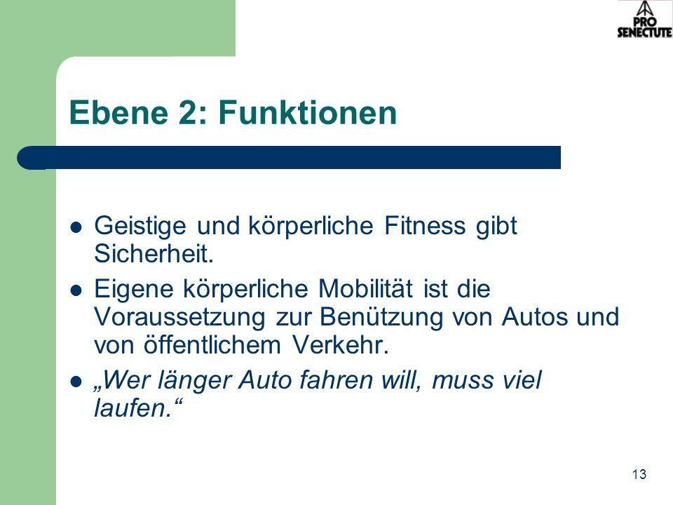 13 Ebene 2: Funktionen Geistige und körperliche Fitness gibt Sicherheit. Eigene körperliche Mobilität ist die Voraussetzung zur Benützung von Autos un