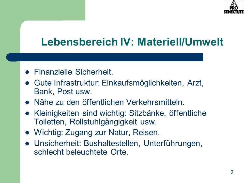 9 Lebensbereich IV: Materiell/Umwelt Finanzielle Sicherheit. Gute Infrastruktur: Einkaufsmöglichkeiten, Arzt, Bank, Post usw. Nähe zu den öffentlichen