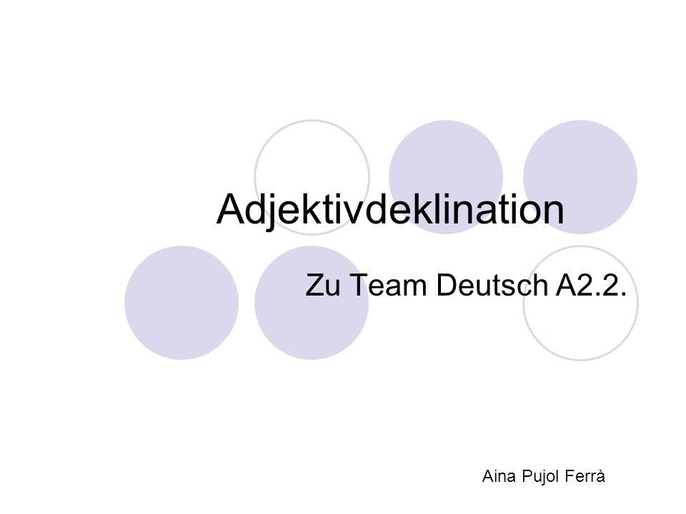 Adjektivdeklination Zu Team Deutsch A2.2. Aina Pujol Ferrà