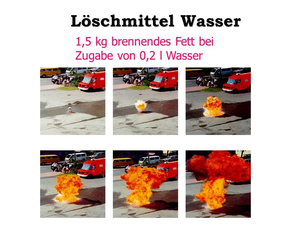 1,5 kg brennendes Fett bei Zugabe von 0,2 l Wasser Löschmittel Wasser