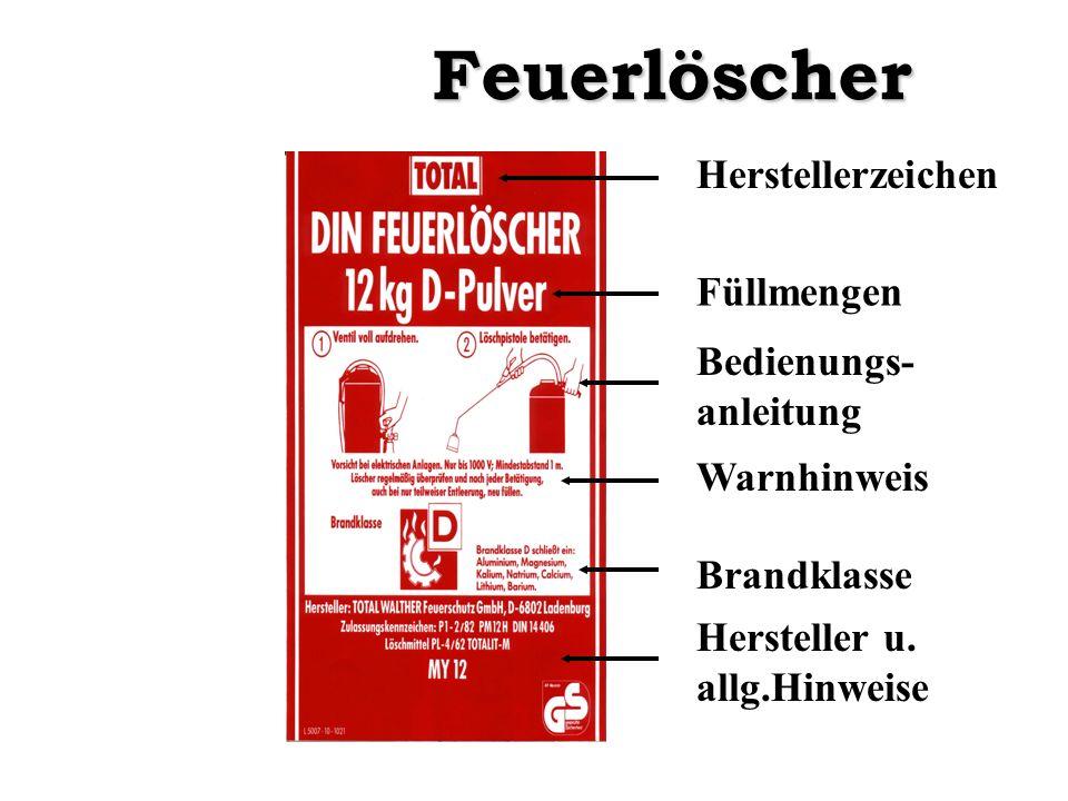 Herstellerzeichen Füllmengen Bedienungs- anleitung Warnhinweis Brandklasse Hersteller u. allg.HinweiseFeuerlöscher