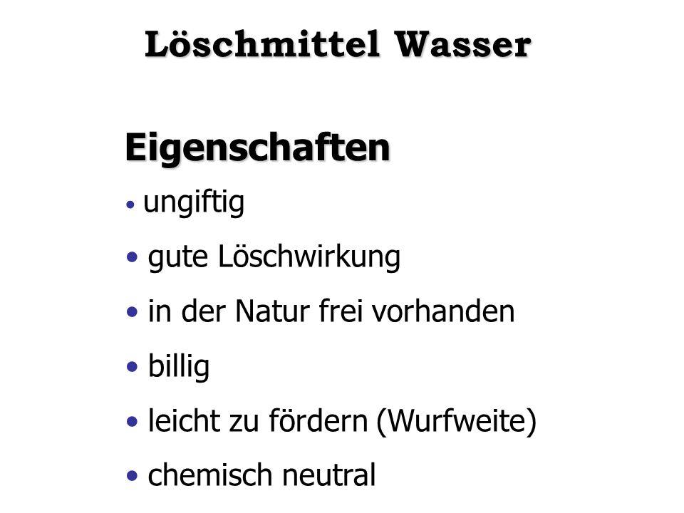 Eigenschaften ungiftig gute Löschwirkung in der Natur frei vorhanden billig leicht zu fördern (Wurfweite) chemisch neutral Löschmittel Wasser