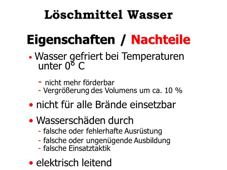Eigenschaften / Nachteile Wasser gefriert bei Temperaturen unter 0° C - nicht mehr förderbar - Vergrößerung des Volumens um ca. 10 % nicht für alle Br