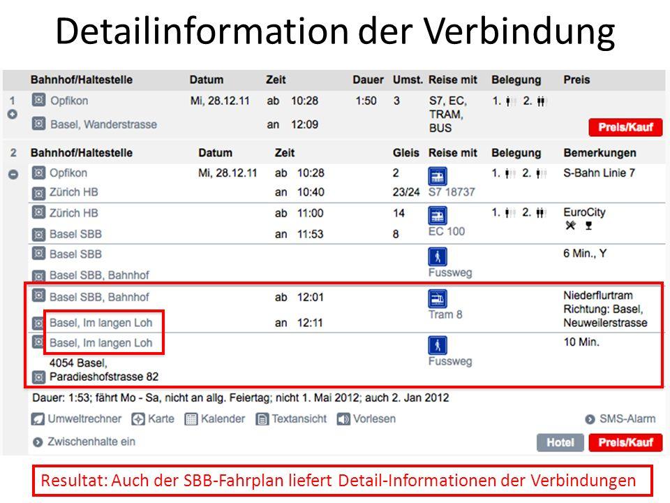 Detailinformation der Verbindung Resultat: Auch der SBB-Fahrplan liefert Detail-Informationen der Verbindungen