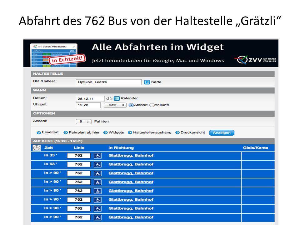 Abfahrt des 762 Bus von der Haltestelle Grätzli