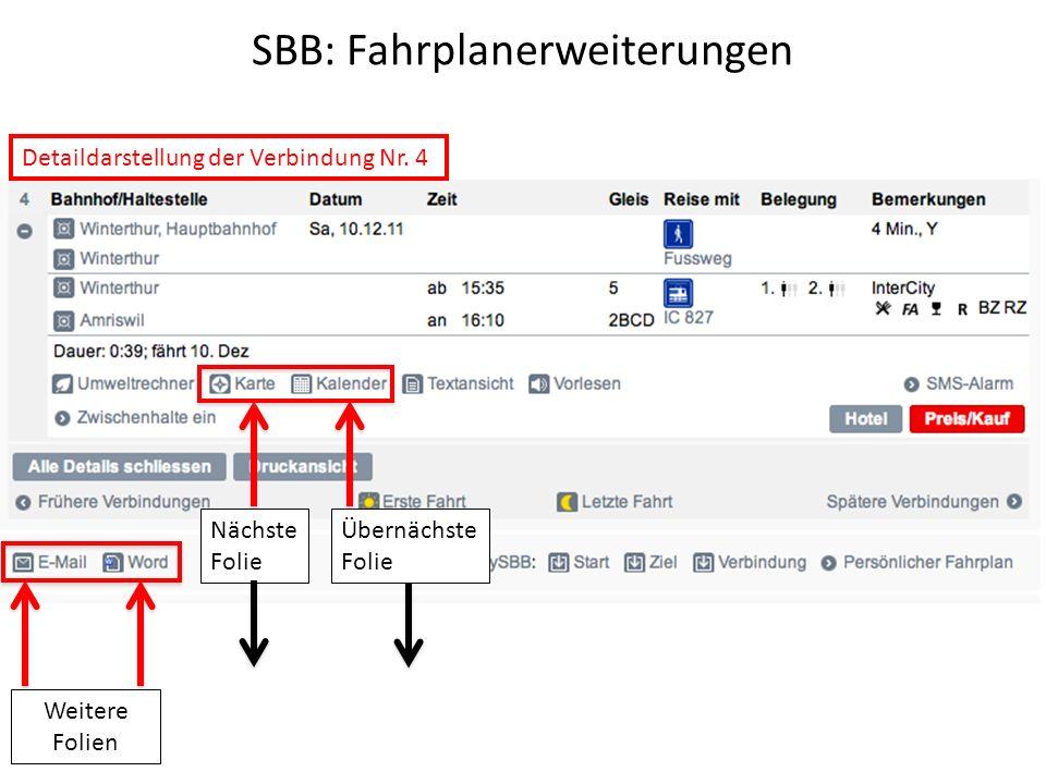 SBB: Fahrplanerweiterungen Nächste Folie Detaildarstellung der Verbindung Nr.