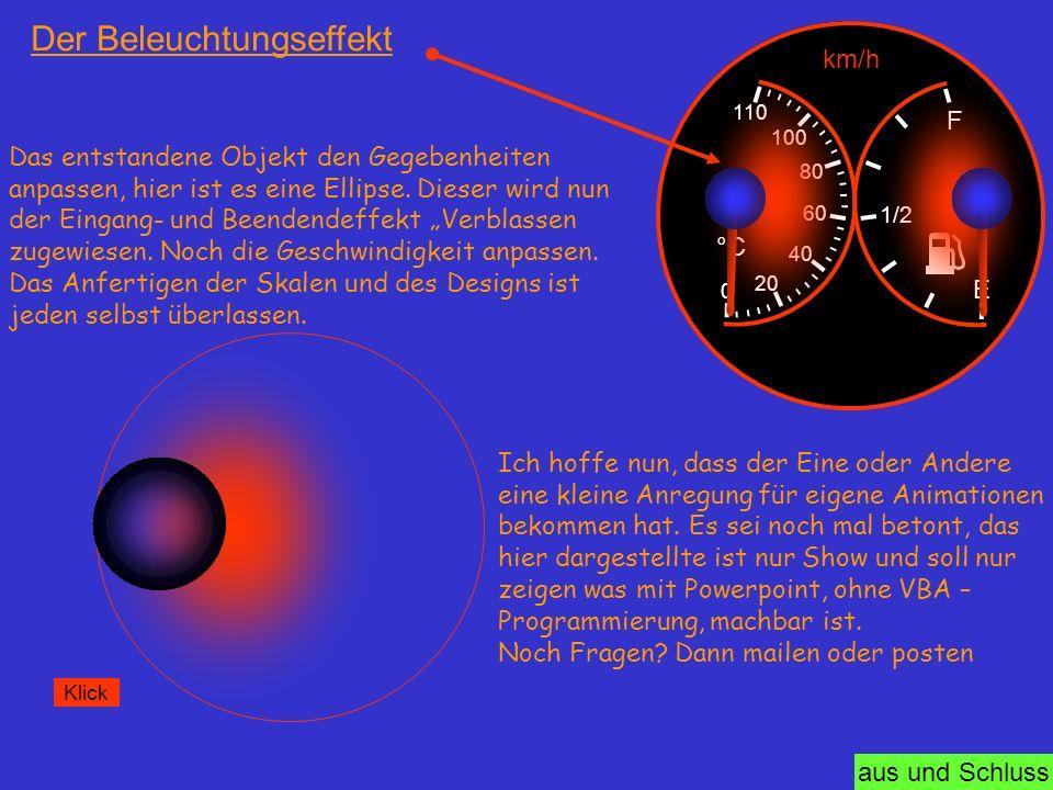 aus und Schluss Der Beleuchtungseffekt 0 20 40 60 80 100 110 °C E F 1/2 km/h Das entstandene Objekt den Gegebenheiten anpassen, hier ist es eine Ellip
