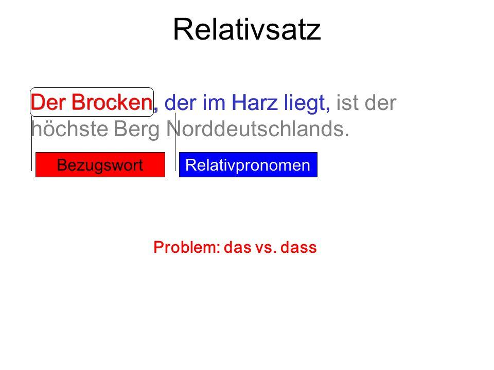 Relativsatz Der Brocken, der im Harz liegt, ist der höchste Berg Norddeutschlands., der im Harz liegt, Der Brocken Relativpronomen Bezugswort Problem: das vs.