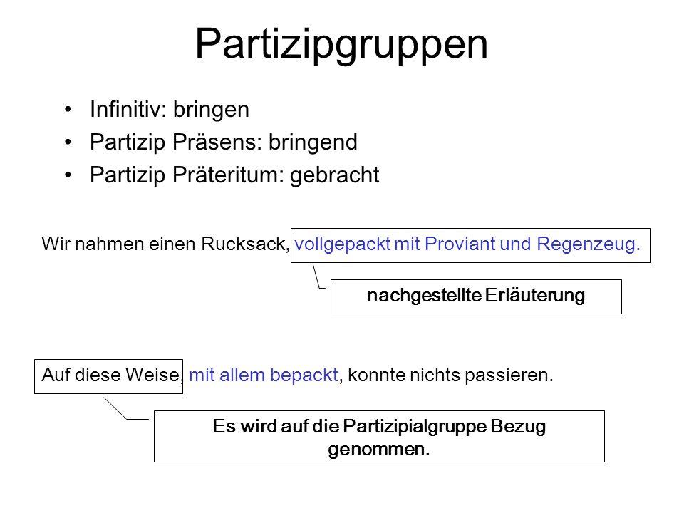 Infinitivsätze finite Form: Er singt.