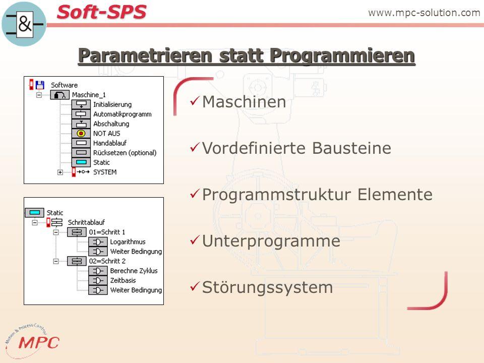 Parametrieren statt Programmieren Maschinen Vordefinierte Bausteine Programmstruktur Elemente Unterprogramme Störungssystem www.mpc-solution.com