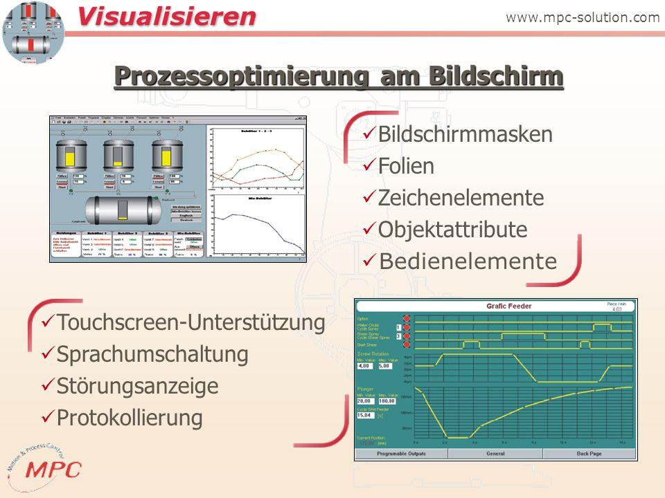 Prozessoptimierung am Bildschirm Touchscreen-Unterstützung Sprachumschaltung Störungsanzeige Protokollierung Bildschirmmasken Folien Zeichenelemente Objektattribute Bedienelemente www.mpc-solution.com