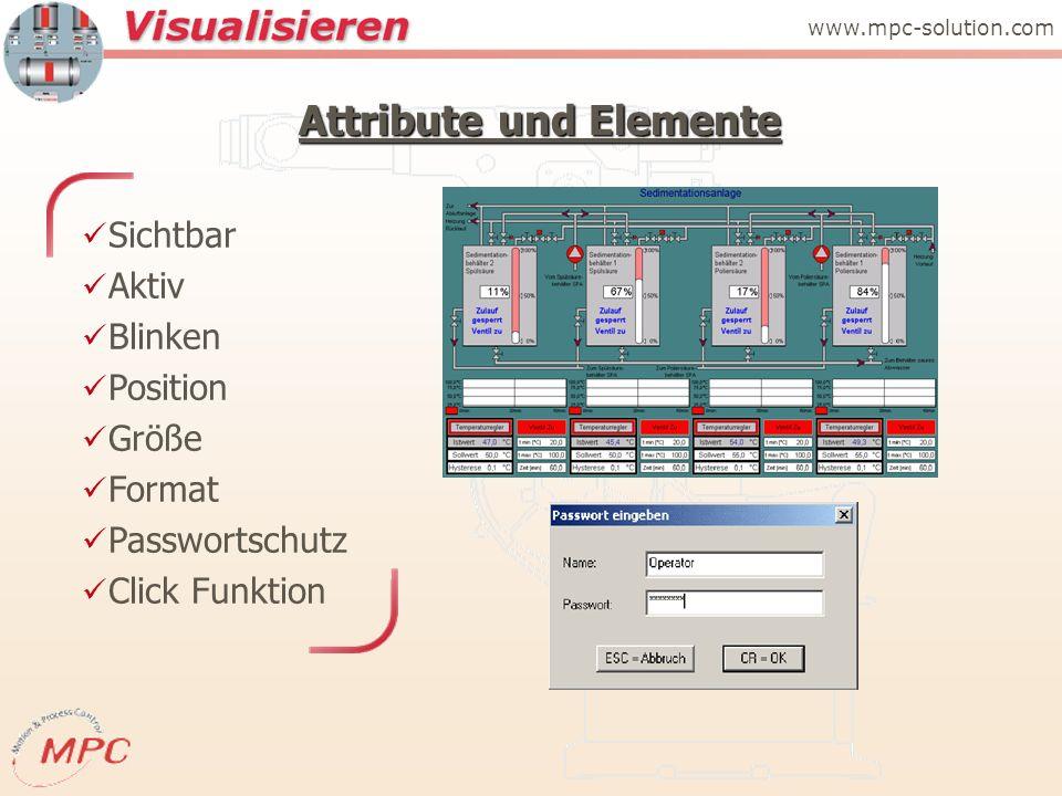 Attribute und Elemente Sichtbar Aktiv Blinken Position Größe Format Passwortschutz Click Funktion www.mpc-solution.com