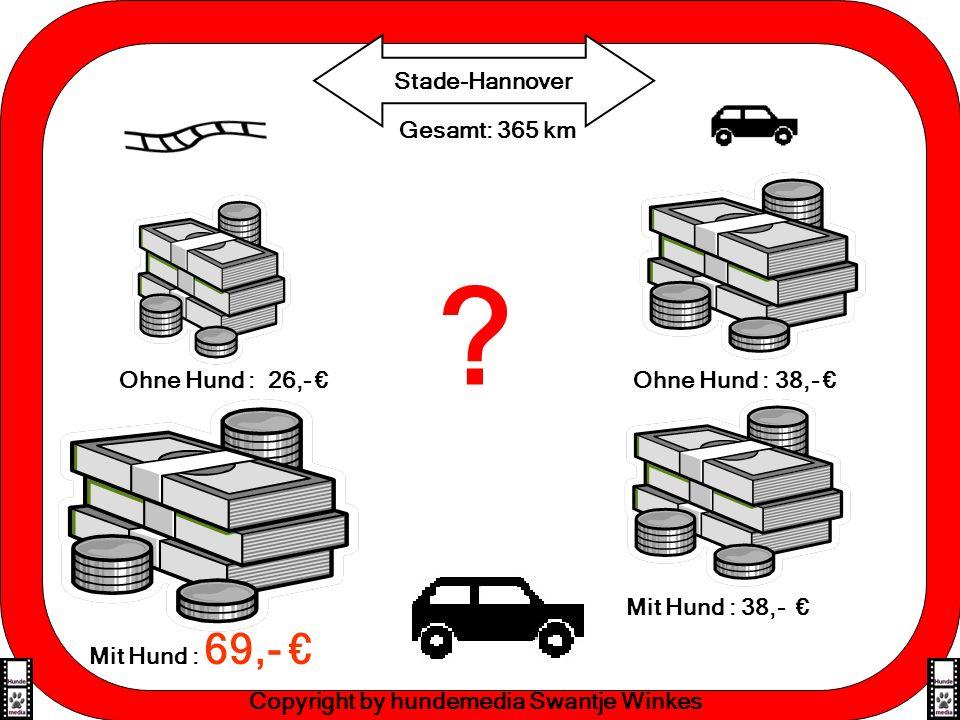 Effektive Lernmethoden Gesamt: 365 km Stade-Hannover Copyright by hundemedia Swantje Winkes Ohne Hund : 26,- Ohne Hund : 38,- Mit Hund : 69,- Mit Hund : 38,- ?