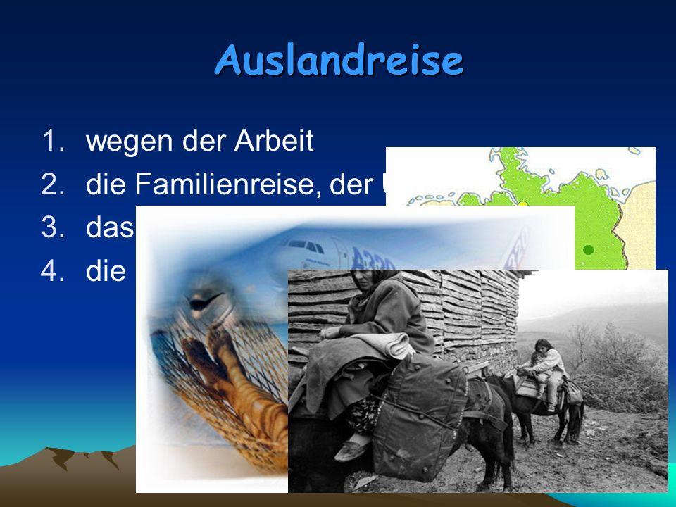 Auslandreise 1.wegen der Arbeit 2.die Familienreise, der Urlaub 3.das Studium im Ausland 4.die Emigration