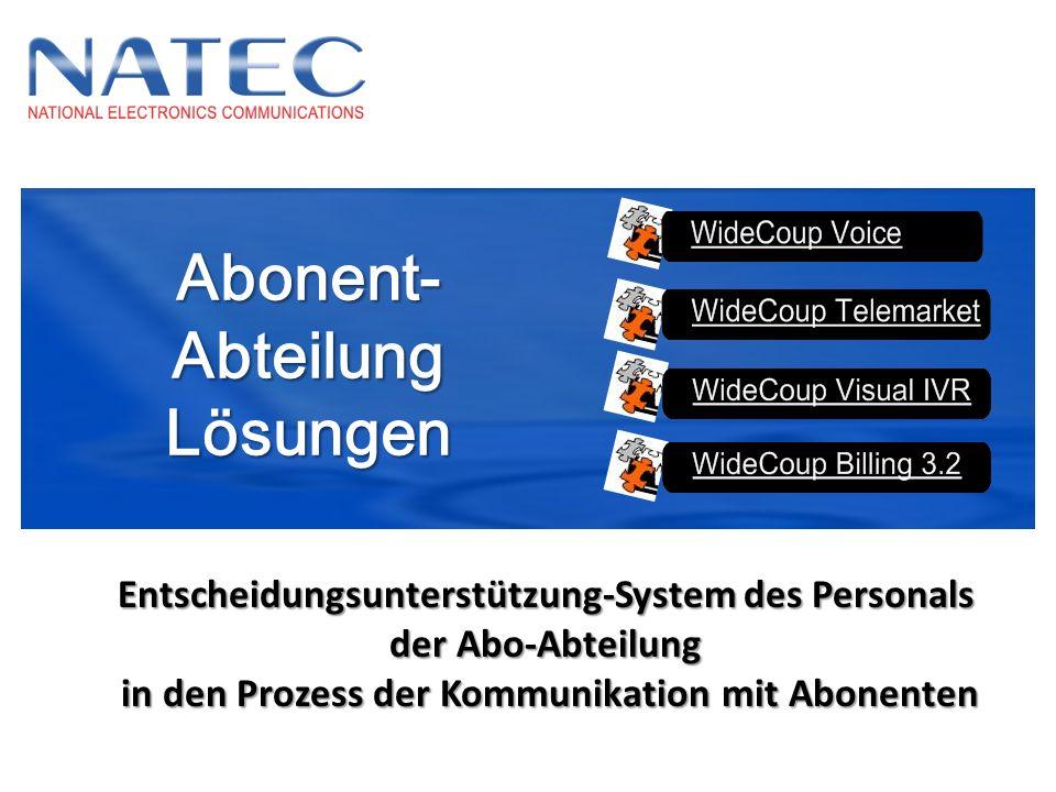 Abonent-AbteilungLösungen Entscheidungsunterstützung-System des Personals der Abo-Abteilung in den Prozess der Kommunikation mit Abonenten in den Proz