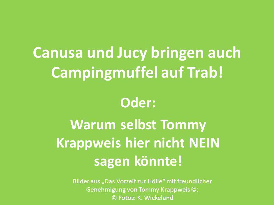 Canusa und Jucy bringen auch Campingmuffel auf Trab! Oder: Warum selbst Tommy Krappweis hier nicht NEIN sagen könnte! Bilder aus Das Vorzelt zur Hölle