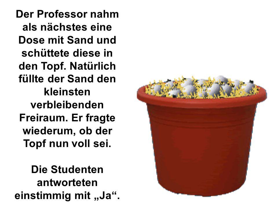 Der Professor nahm als nächstes eine Dose mit Sand und schüttete diese in den Topf. Natürlich füllte der Sand den kleinsten verbleibenden Freiraum. Er