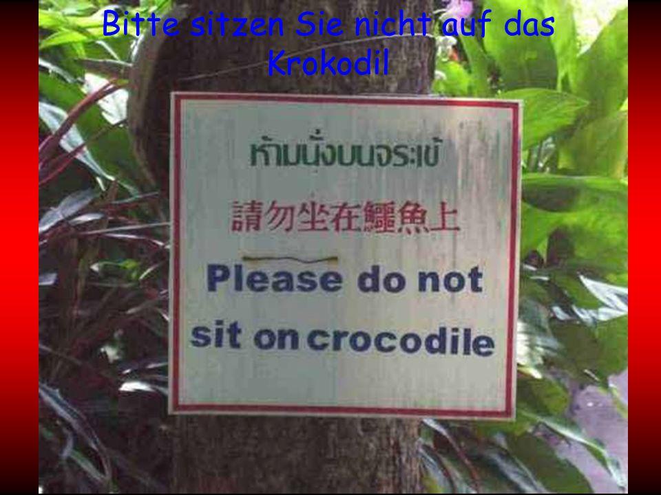 Bitte sitzen Sie nicht auf das Krokodil