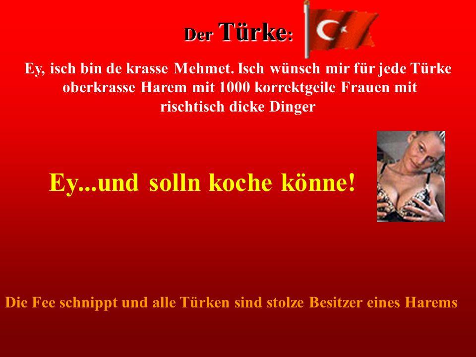 Der Türke : Ey, isch bin de krasse Mehmet. Isch wünsch mir für jede Türke oberkrasse Harem mit 1000 korrektgeile Frauen mit rischtisch dicke Dinger Ey