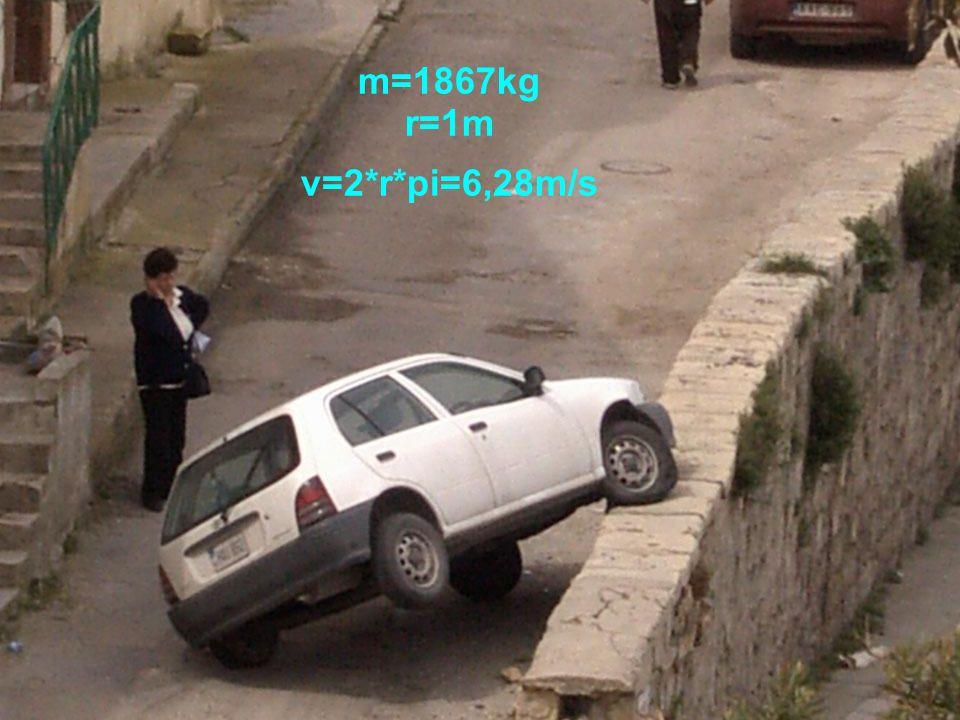 m=1867kg r=1m v=2*r*pi=6,28m/s