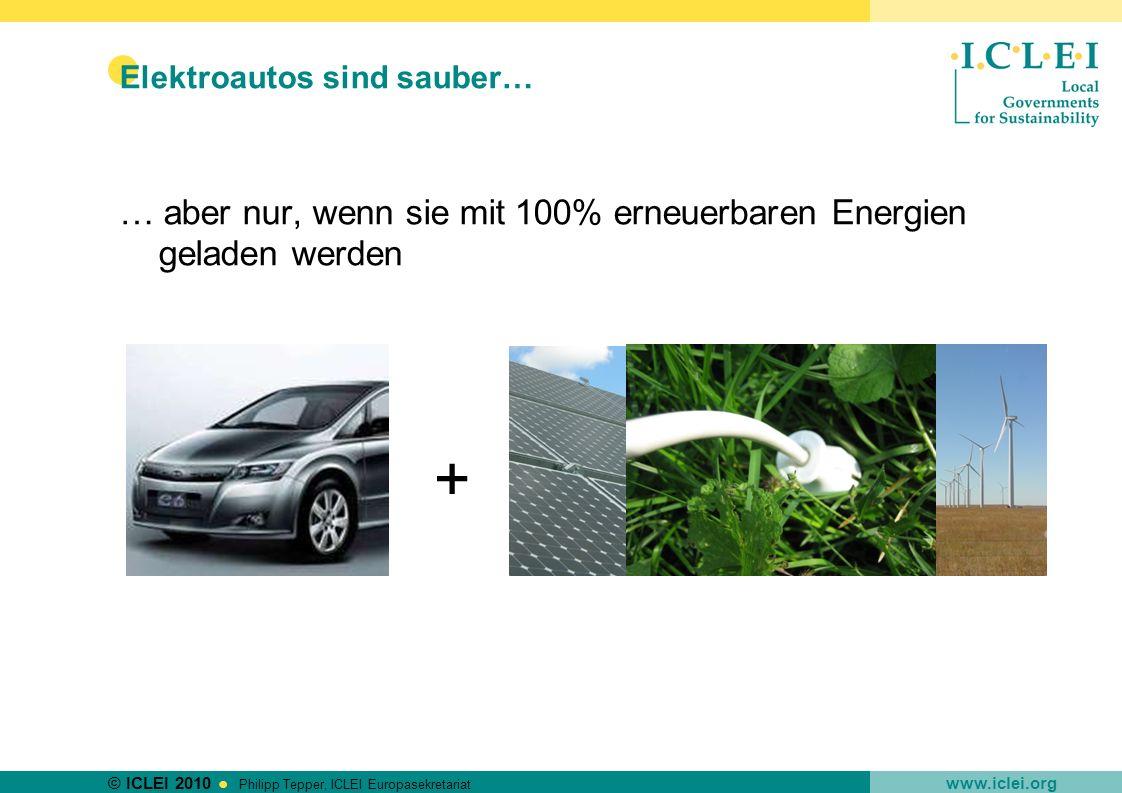 © ICLEI 2010 www.iclei.org Philipp Tepper, ICLEI Europasekretariat Elektroautos sind sauber… … aber nur, wenn sie mit 100% erneuerbaren Energien gelad