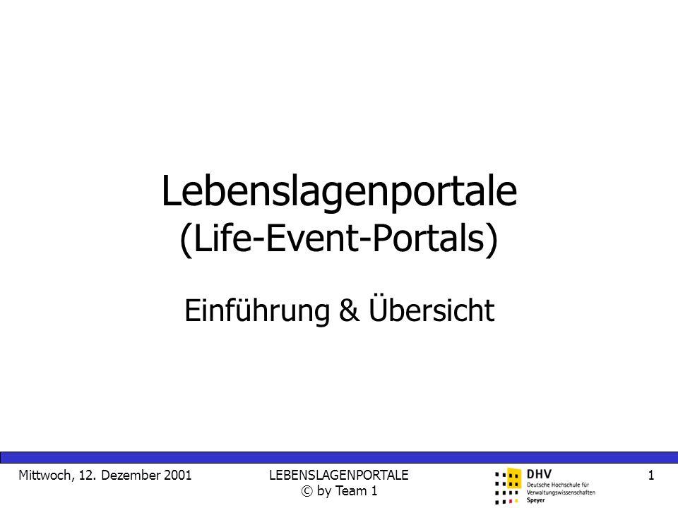Mittwoch, 12. Dezember 2001LEBENSLAGENPORTALE © by Team 1 1 Lebenslagenportale (Life-Event-Portals) Einführung & Übersicht