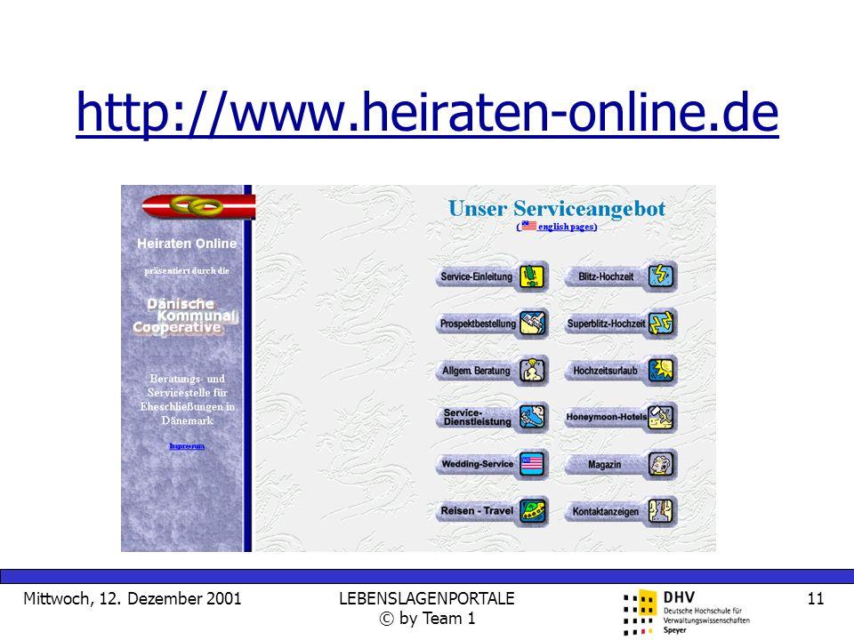 Mittwoch, 12. Dezember 2001LEBENSLAGENPORTALE © by Team 1 11 http://www.heiraten-online.de