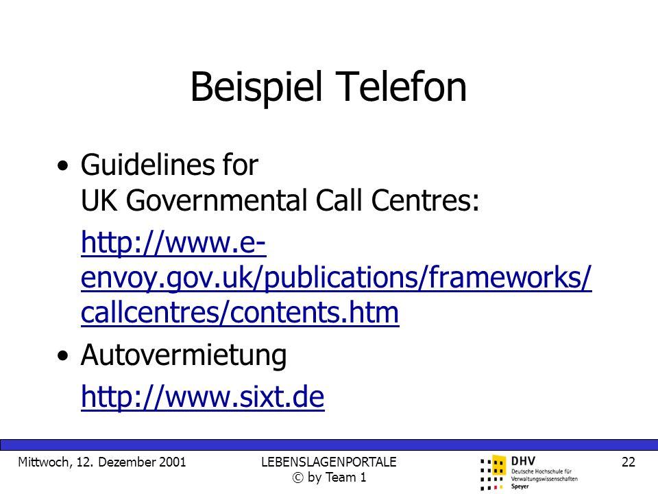 Mittwoch, 12. Dezember 2001LEBENSLAGENPORTALE © by Team 1 22 Beispiel Telefon Guidelines for UK Governmental Call Centres: http://www.e- envoy.gov.uk/