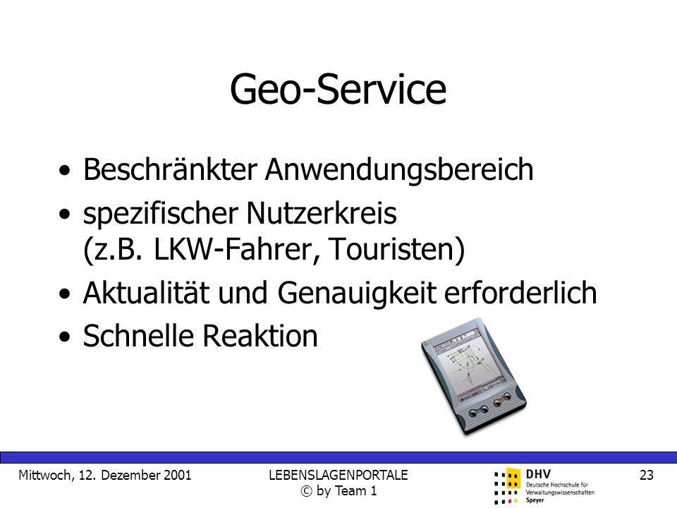 Mittwoch, 12. Dezember 2001LEBENSLAGENPORTALE © by Team 1 23 Geo-Service Beschränkter Anwendungsbereich spezifischer Nutzerkreis (z.B. LKW-Fahrer, Tou