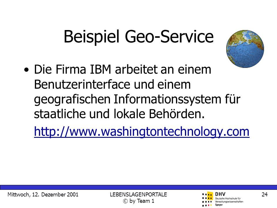 Mittwoch, 12. Dezember 2001LEBENSLAGENPORTALE © by Team 1 24 Beispiel Geo-Service Die Firma IBM arbeitet an einem Benutzerinterface und einem geografi