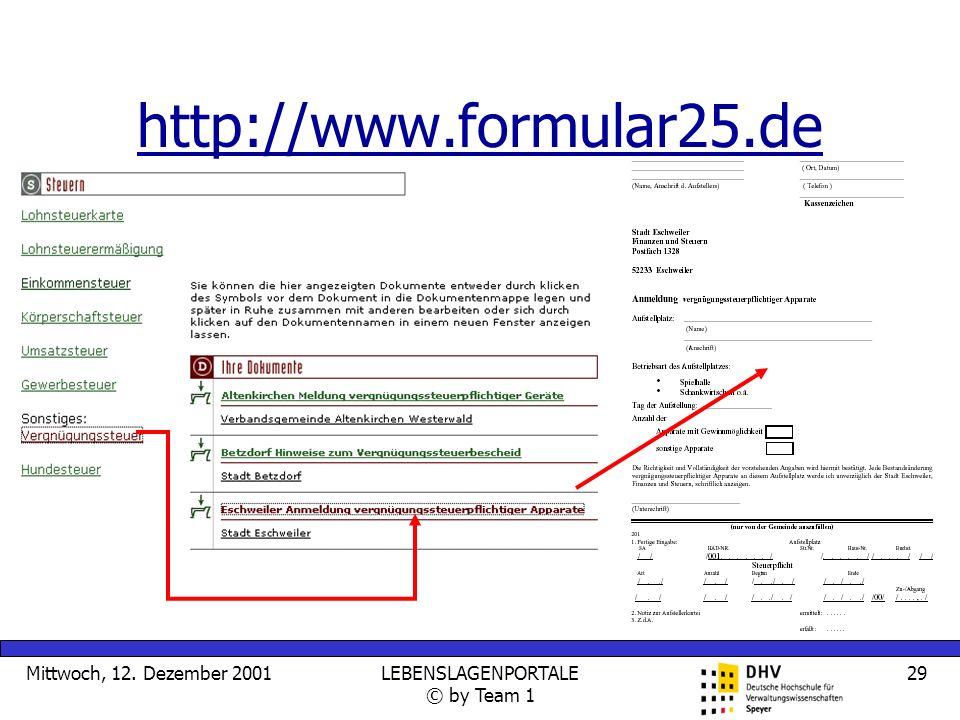 Mittwoch, 12. Dezember 2001LEBENSLAGENPORTALE © by Team 1 29 http://www.formular25.de