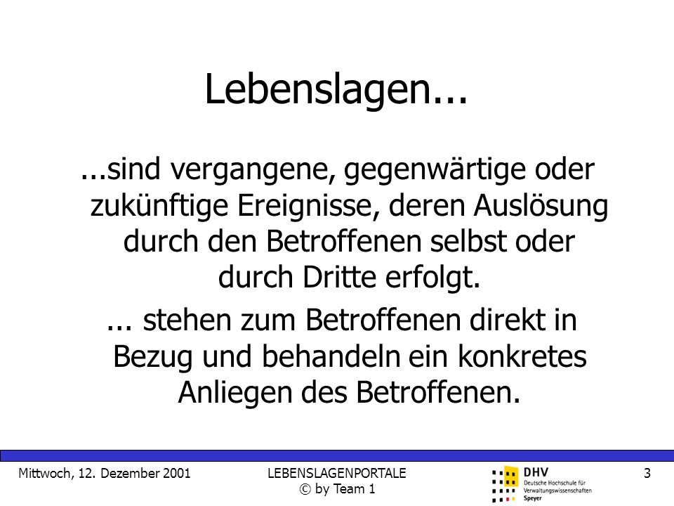 Mittwoch, 12.Dezember 2001LEBENSLAGENPORTALE © by Team 1 4 Lebenslagen......